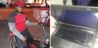 Tela e teclado de computador notebook e Homem em bicicleta de entrega de comida
