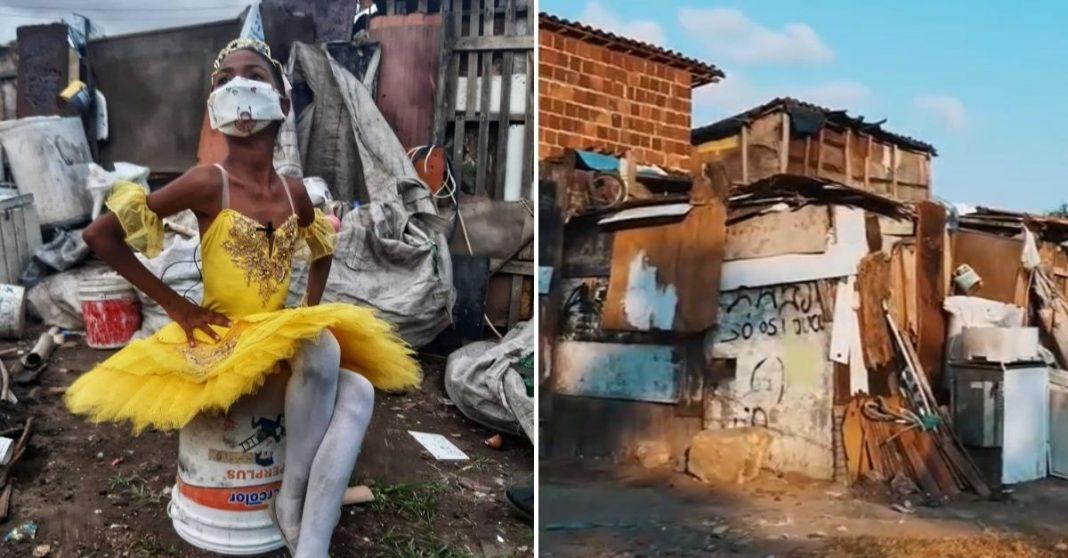 Menina de 9 anos sonha ser bailarina para mudar vida da família que vive em barraco 1