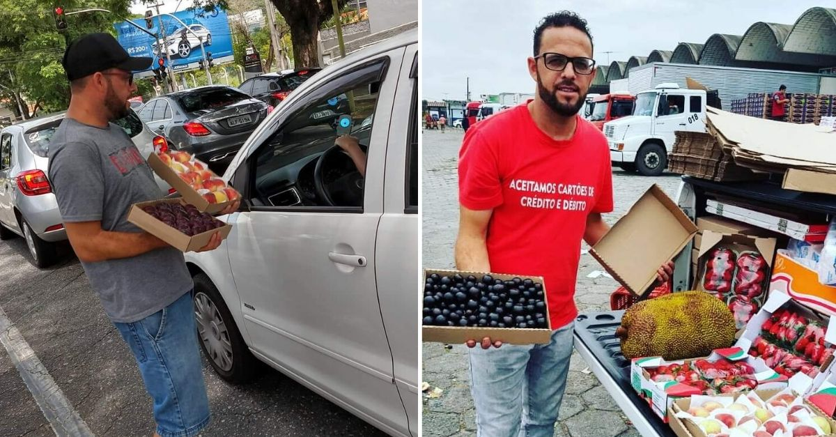 homem vendendo frutas rua