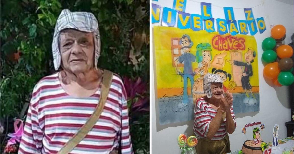 Idoso vestido de Chaves em festa de aniversário batendo palmas