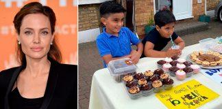 Angelina Jolie e meninos vendem limonada