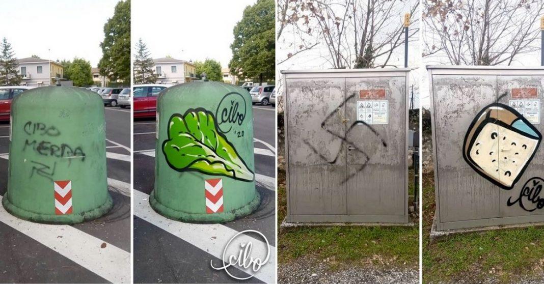 artista substitui mensagens de odio com comida