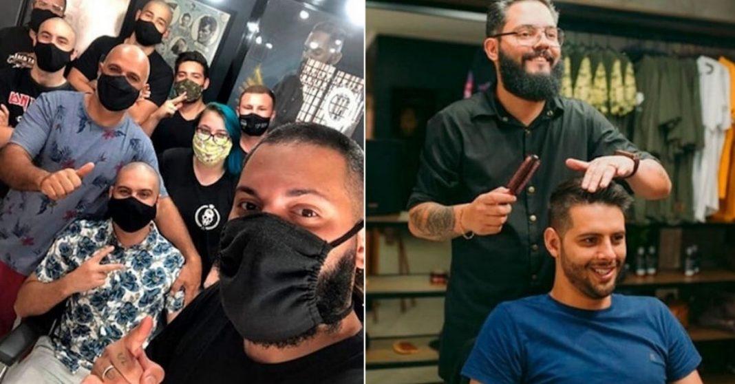 barbeiros raspam o cabelo apoiar cliente com cancer