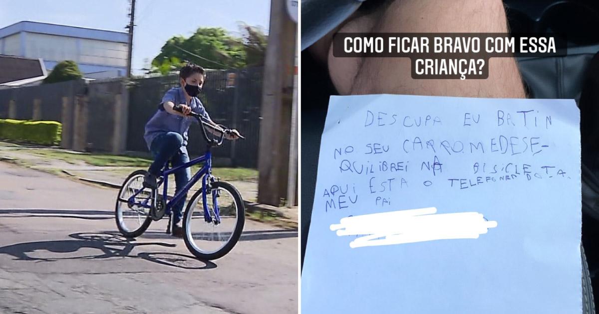 """Bilhete de criança de 7 anos que caiu de bicicleta e riscou veículo viraliza: """"Como ficar bravo?"""" (SC) 1"""