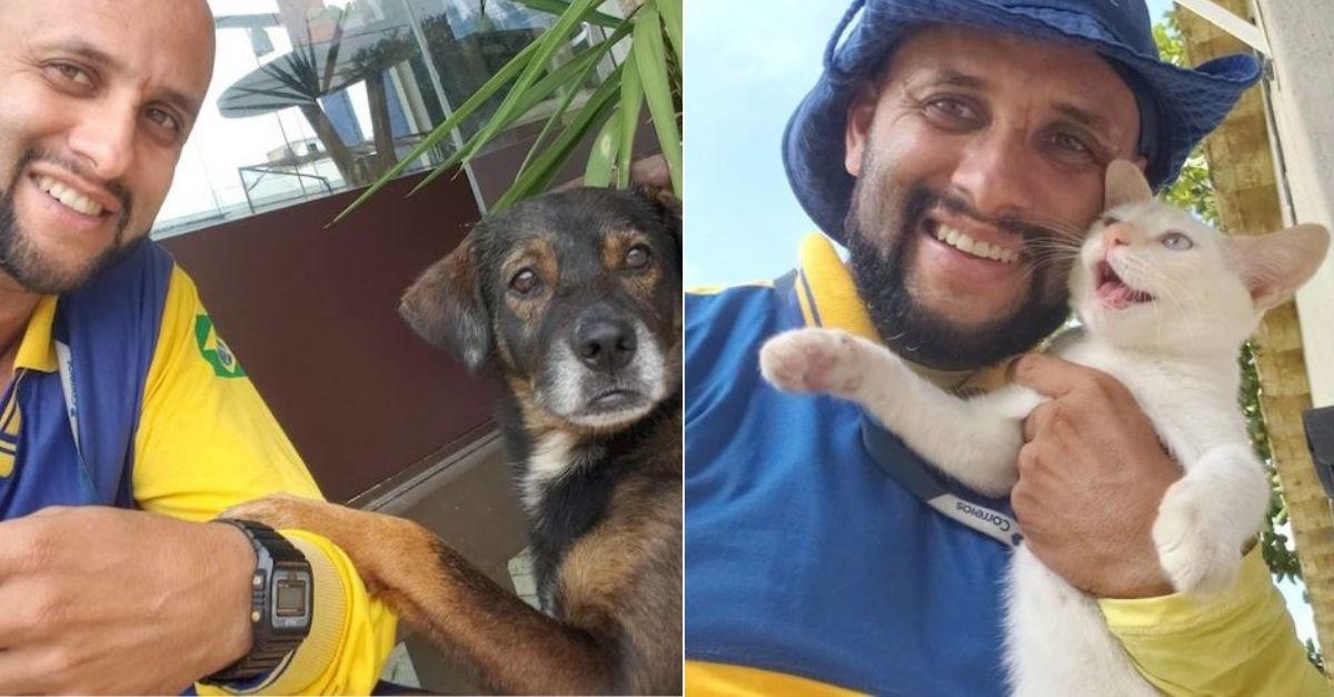 Apaixonado por animais, carteiro de SP tira selfies com cada animal que encontra pelo caminho 1