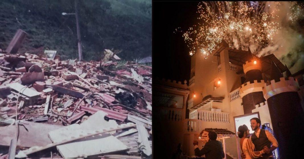 Casa destruída e ao lado casamento realizado em castelo