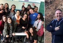 Sala de aula com vários alunos e o professor Emílio Munaro, vice-presidente do Instituto Ayrton Senna