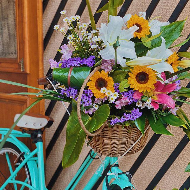 bicicleta azul cesto flores