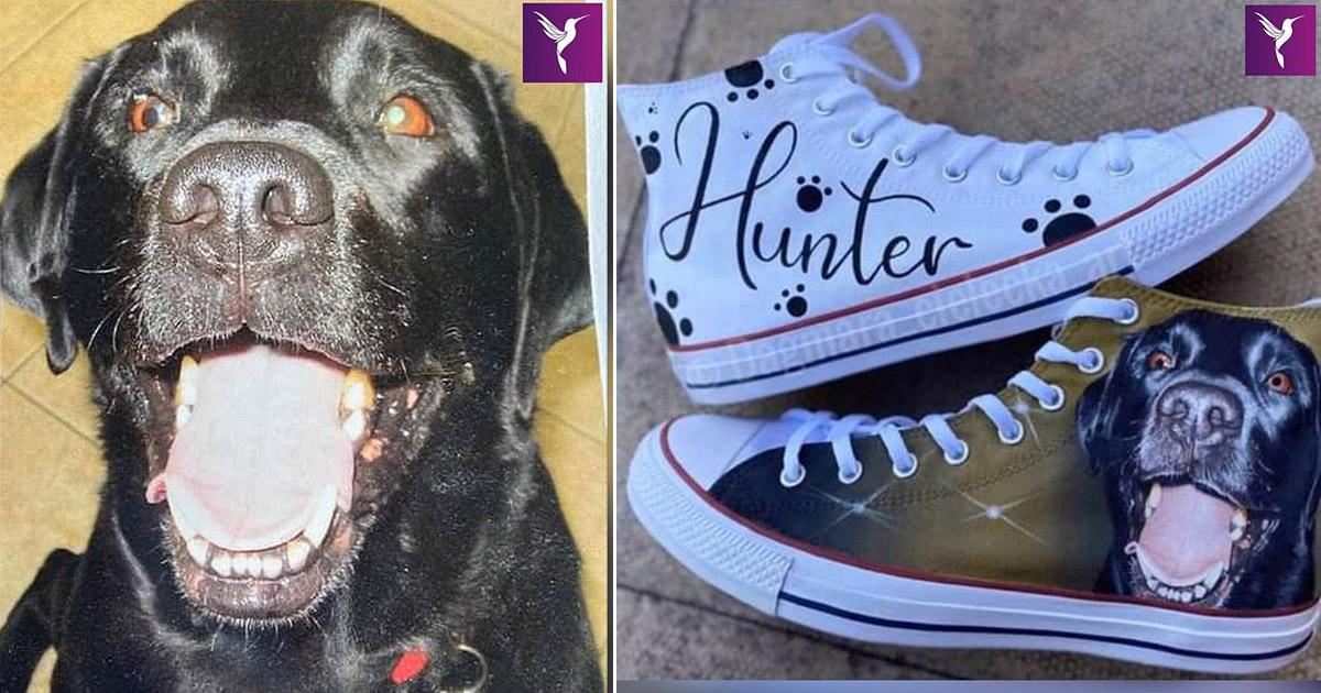 tênis com pintura do cachorro