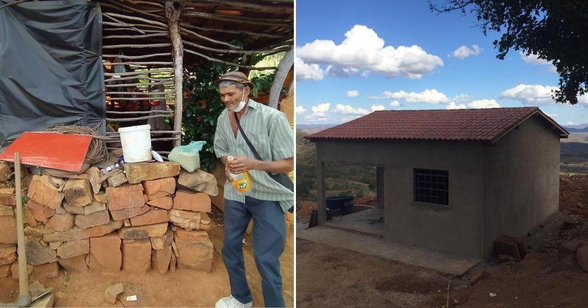 Após vaquinha, idoso que mora há 18 anos em condições desumanas numa cabana ganha casa 1