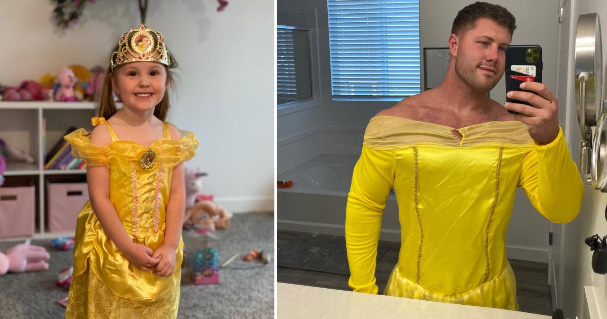 pai se veste de bela a pedido da filha