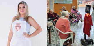 Finalista do MasterChef Brasil, Lorane Dayse, com avental e ao lado ela em tela de robô conversando com idosa sentada em cadeira
