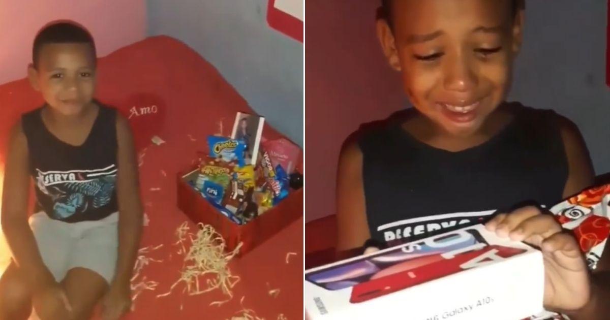 Menino vai às lágrimas ao ser surpreendido pela mãe com um celular de aniversário; veja vídeo 1