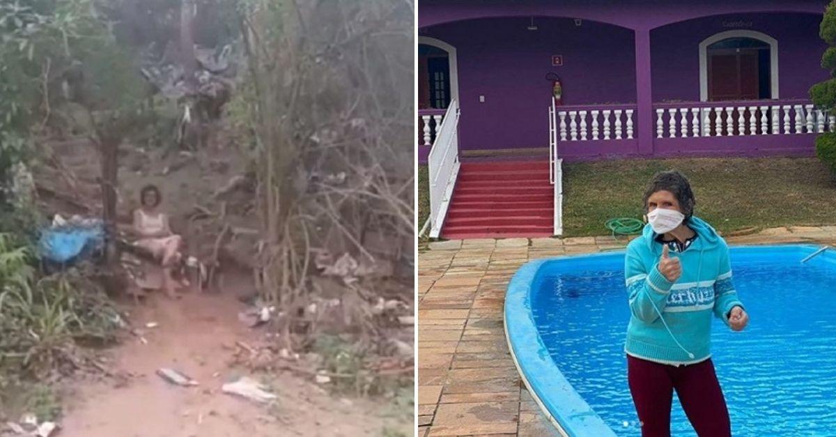 Mulher no meio do mato e mulher em frente a piscina