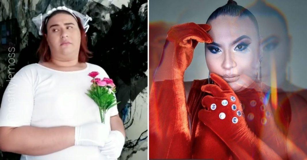 Mulher trans com vestido de noiva e mulher trans maquiada e produzida