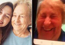 Avó e neta que se comunicam pelo celular tirando foto abraçadas
