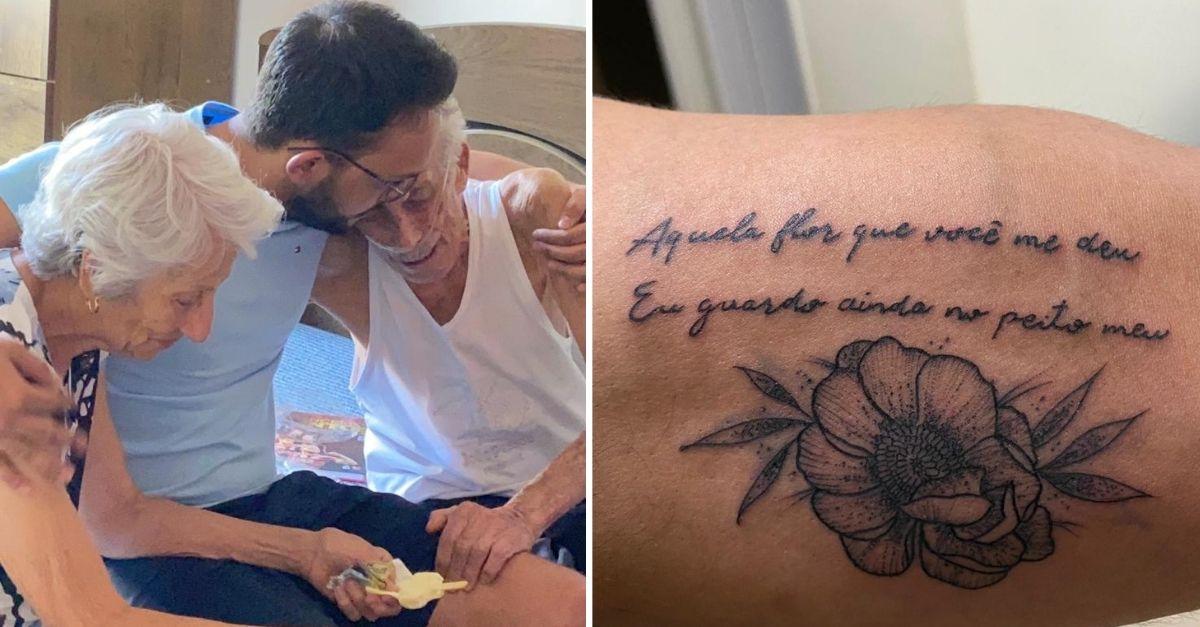Neto abraçando avós e tatuagem no braço em homenagem a eles