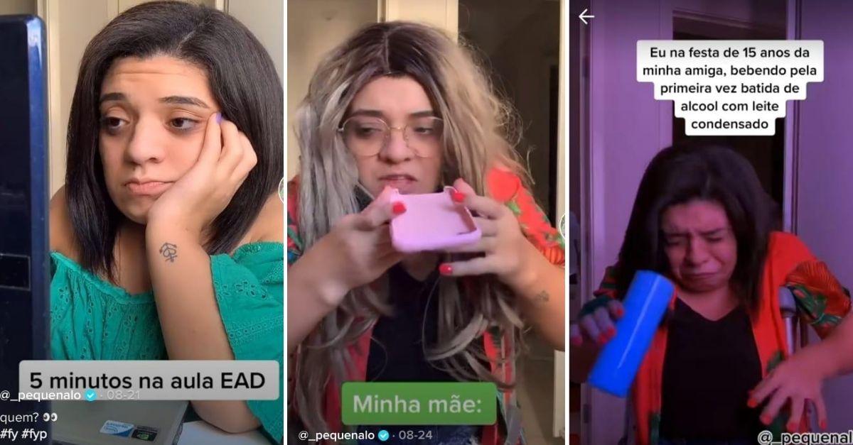 Prints de vídeos do Tik Tok com humorista com síndrome rara