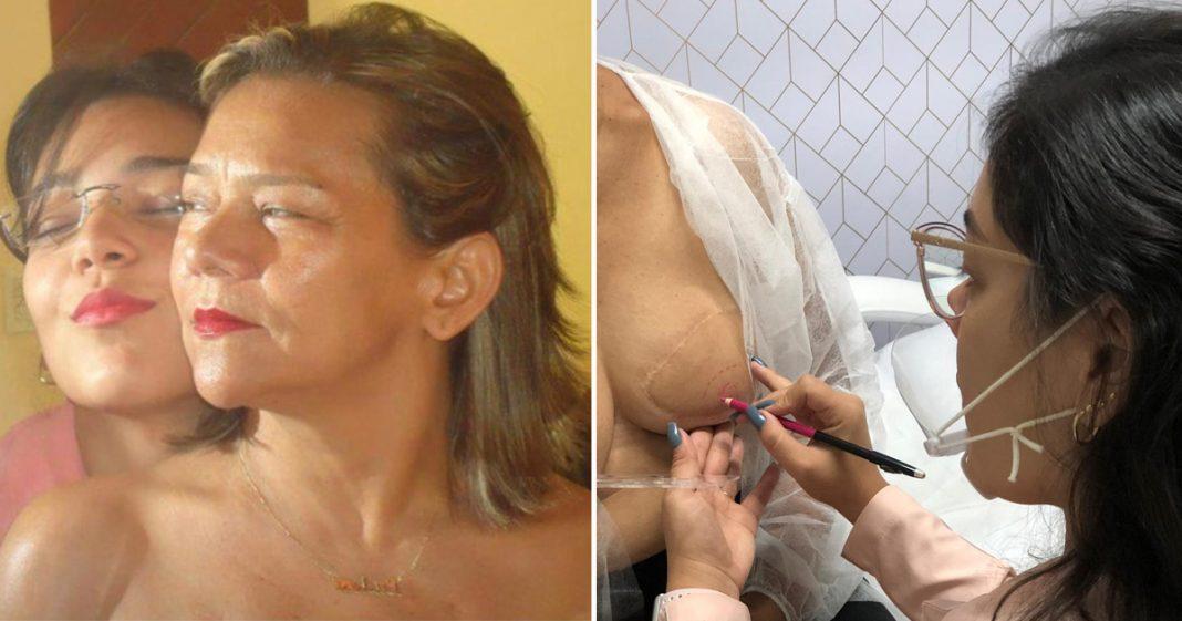 profissional micropigmentação reconstrói auréola mulher câncer mama