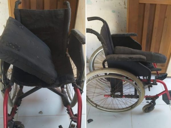 Cadeira velha que a Bia tentou consertar