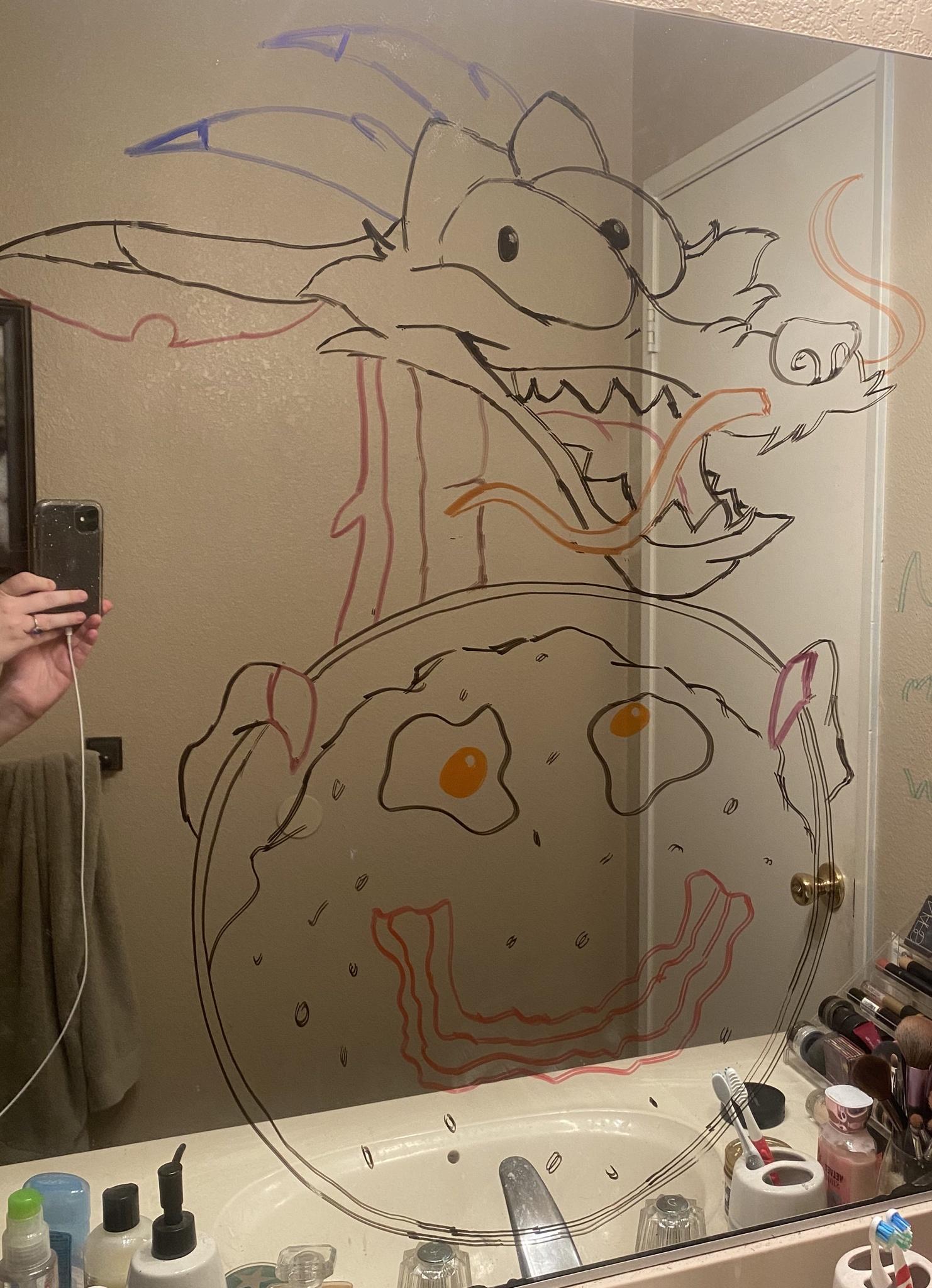 Marido faz desenhos hilários no espelho do banheiro para esposa ir trabalhar mais relaxada 6