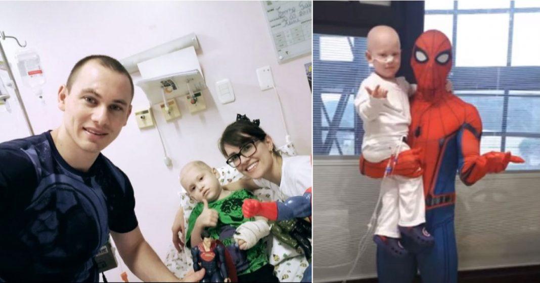 """Pai se veste de Homem-Aranha para surpreender filho após transplante. """"O doador da medula fui eu"""" 3"""