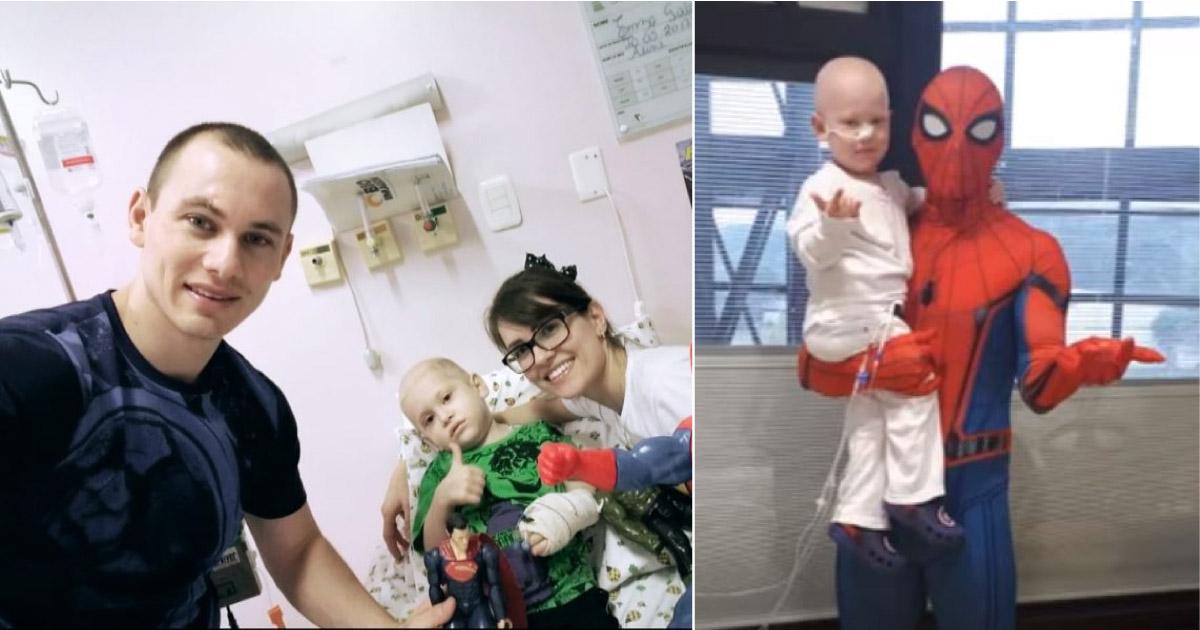 """Pai se veste de Homem-Aranha para surpreender filho após transplante. """"O doador da medula fui eu"""" 1"""