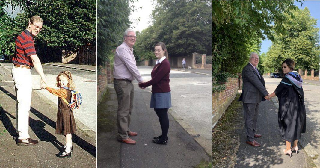 pai e filha reproduzem foto antes e depois