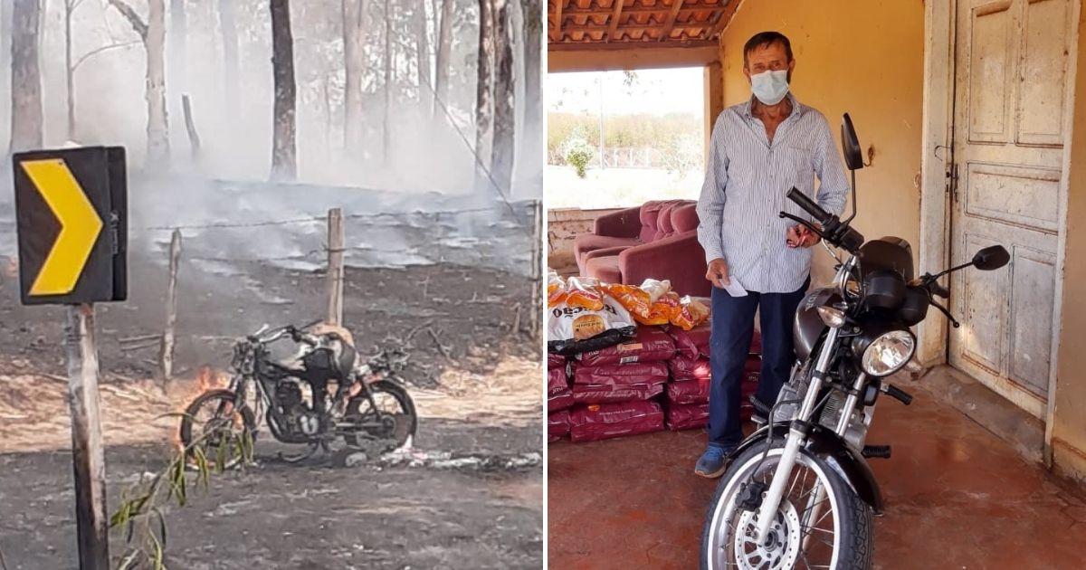 Após perder moto em queimada enquanto salvava animais, homem ganha veículo novo de internauta 1