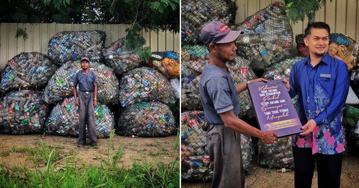 Homem com câncer nos ossos caminha 10 km por dia para limpar ruas e praias na Malásia 1