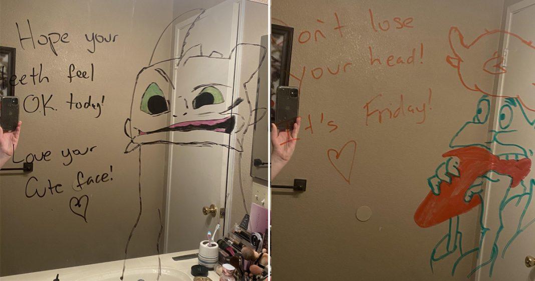 Marido faz desenhos hilários no espelho do banheiro para esposa ir trabalhar mais relaxada 11