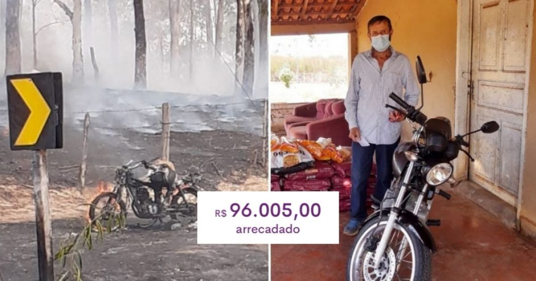 Após perder moto enquanto salvava animais de queimada, homem recebe R$ 96 mil em doações e comprará casa 1