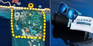 óculos feito de lixo plástico