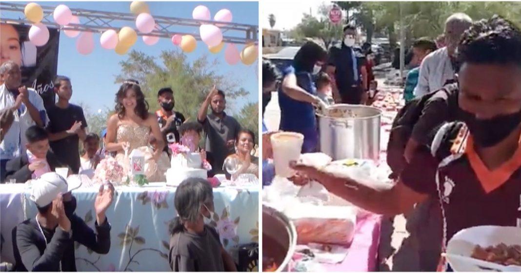 Adolescente convida grupo de sem-teto para sua festa de 15 anos. Eles comeram, dançaram e se divertiram juntos 2