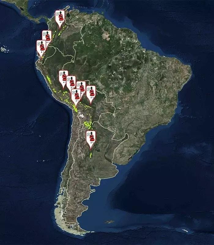 mapa cordilheira dos andes