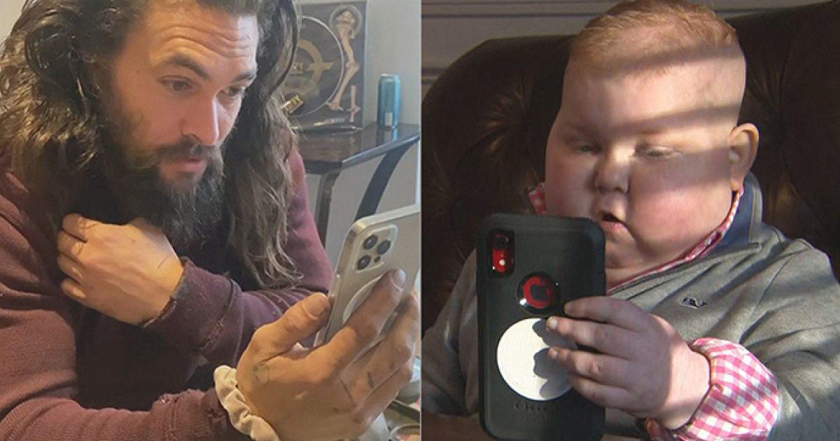 Jason Momoa, o Aquaman, faz videochamada com seu maior fã que luta contra o câncer 1