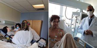 Homem deitado em leite de hospital após receber alta depois de cirurgia do coração