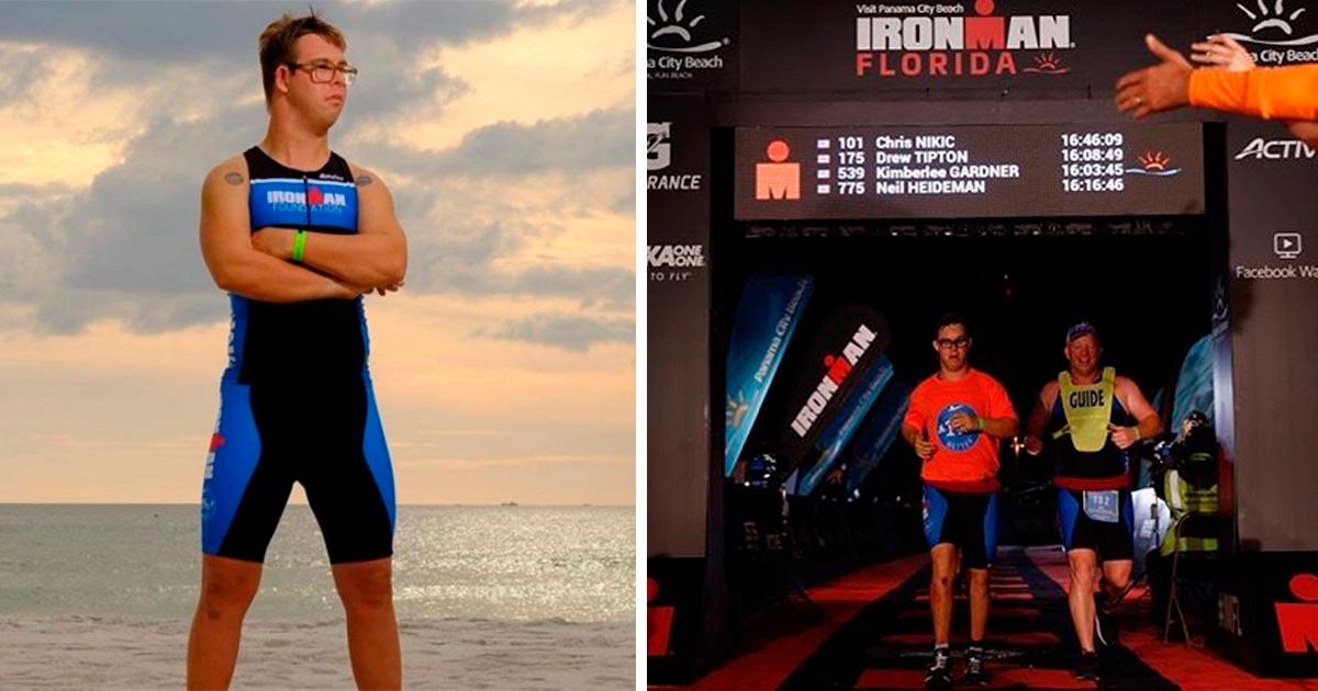 Americano de 21 anos se torna o primeiro com Síndrome de Down a completar Ironman Triathlon 1