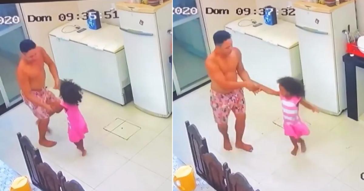 criança é flagrada dançando com tio e diverte mãe