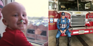 bombeiro se fantasia de capitão américa para garotinho