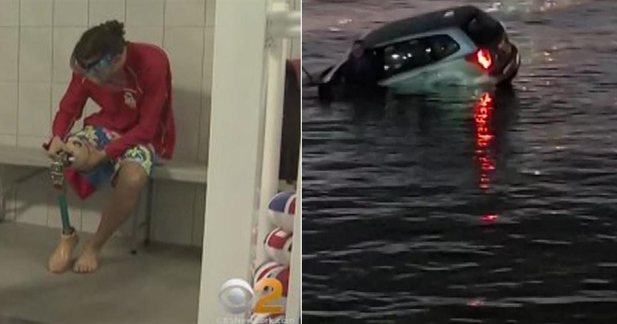 Homem com uma perna só mergulha no mar para salvar motorista preso no carro [VÍDEO] 1