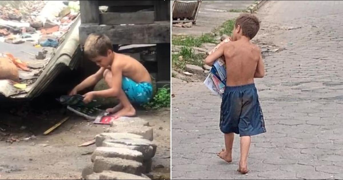 menino recolhe livros do lixão