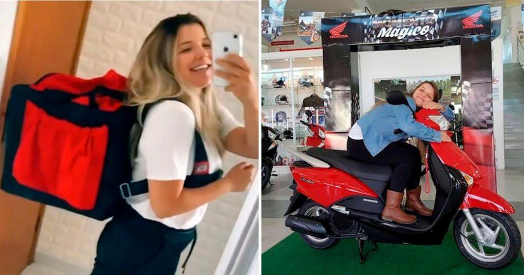 Motogirl viraliza com vídeo do primeiro dia de trabalho como motorista de aplicativo 3