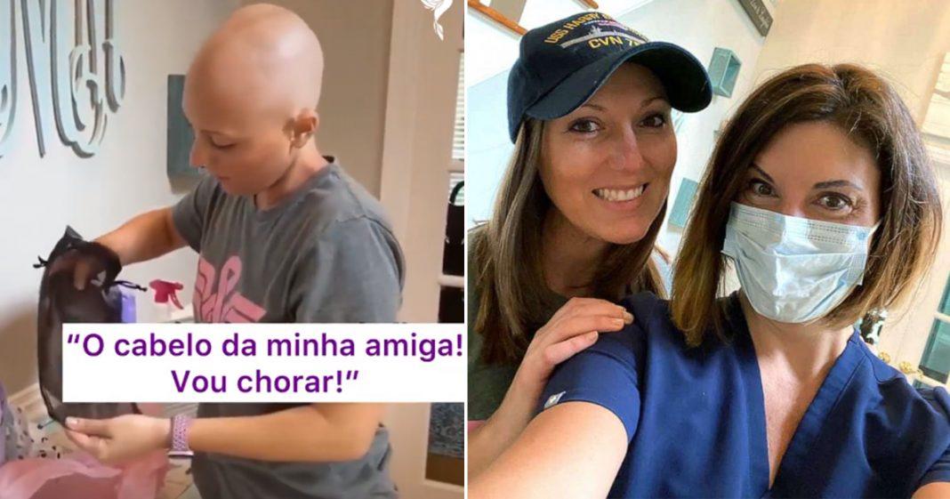 Mulher doa peruca do próprio cabelo para amiga com câncer e sua reação emociona [VÍDEO] 4