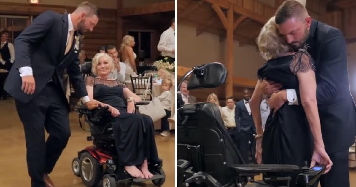 Noivo levanta mãe da cadeira de rodas para dançar com ela e o vídeo vai te emocionar! 2
