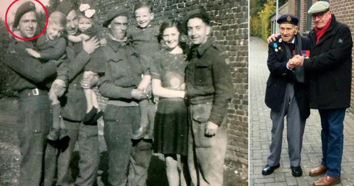 75 anos depois, veterano da Segunda Guerra recria foto com garoto belga que lhe deu abrigo 1