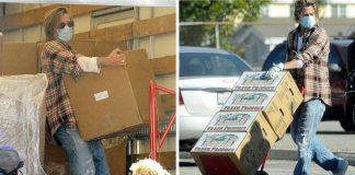 Brad Pitt distribui comida a necessitados