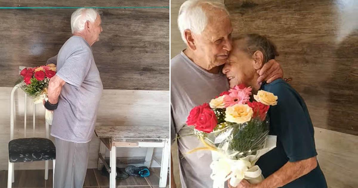 [VÍDEO] Ao ganhar flores, idosa com Alzheimer reconhece marido e o abraça 3