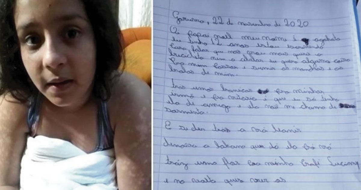 menina escreve carta para papai noel pedindo cura