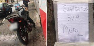 homem guarda moto para evitar que seja roubada